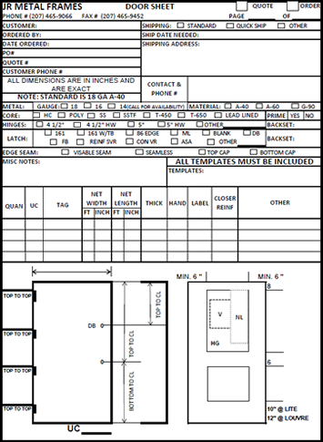 Order doors special order express sc 1 st benchmark for Window and door schedule template
